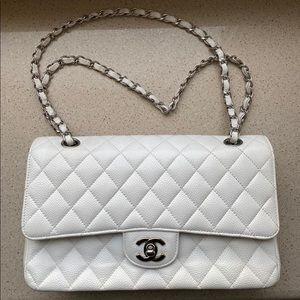 Chanel White Medium Classic Bag